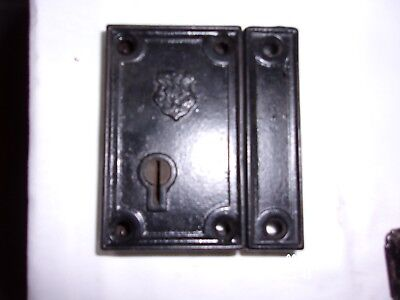 Antique J & N Cast Iron Dead Bolt Rim Lock Keeper Jacobus & Nimick  No Key 1800s