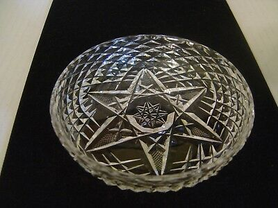 Vintage Cut Glass Star Of David Small Round Candy Or Nut Dish