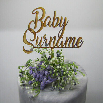Laser Cut Wooden Cake Topper - Personalised Baby (name or surname)