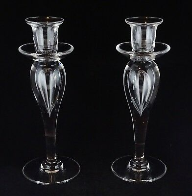 "Pair Of St. Louis Crystal Sirius 8.5"" Giftware French Clear Glass Candlesticks"
