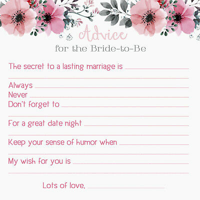 BRIDE Advice Cards! Bridal Shower Games, Marriage Wedding Well Wishes 25 Qty