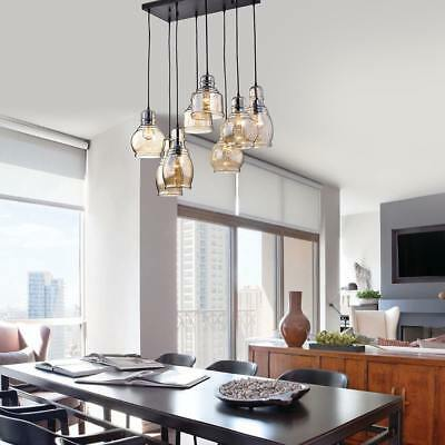 Mariana 8-Light Cognac Glass Cluster Pendant in Antique Black Finish Cognac