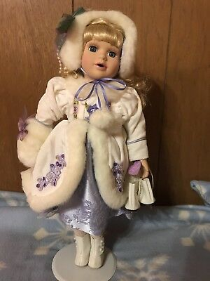 """PORCELAIN DOLL 15"""" Purple and white dress, ice skates with stand"""