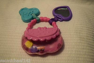 Fisher Price Little Glamour Pink Purse Mirror Rattle Mirror Teether Key Toy 2010