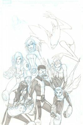 New X-Men Unfinished Pencil Cover - Signed art by Humberto Ramos