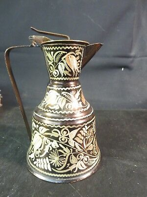 Hand Decorated Copper/Pitcher/Ewer Signed