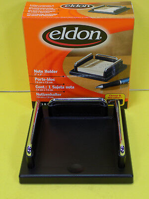 NEW Eldon Note Holder - Post-it Note Holder 3x3 Chrome and Nuleather