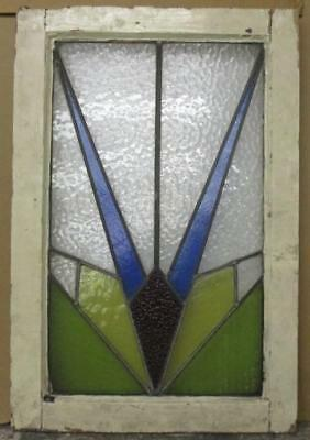 "LARGE OLD ENGLISH LEADED STAINED GLASS WINDOW Abstract Burst 21.5"" x 31.75"""