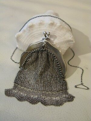 Antique Silver T  Chatelaine Pin Clip Fancy Fringe Micro Mesh Coin Double Purse