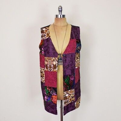 Vtg 90s 70s Boho Hippie Gypsy Velvet Patchwork Long Duster Vest Jacket Top S M L