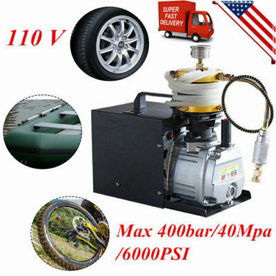 400BAR 40MPA 6000PSI High Pressure Air Compressor PCP Airgun Scuba Air Pump 110V