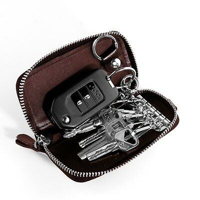 Genuine Leather Car Key Chain Ring Card Holder Pouch Case Organizer Bags Wallet