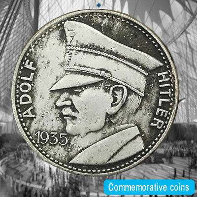 1935 WWII WW2 German Commemorative Coin Nazi ADOLF HITLER Swastika Exonumia Coin
