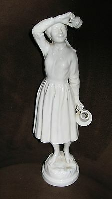 """Vtg TALL HEREND Hungary Sculpture Milkmaid Figurine Farm Girl dairy antique  12"""""""