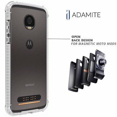 Moto Z2 Force Case Bumper White / Clear Compatible With Moto Mods ( Ademite )