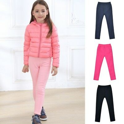 Kids Girls Solid Winter Thick Warm Fleece Lined Thermal Stretchy Leggings Pants