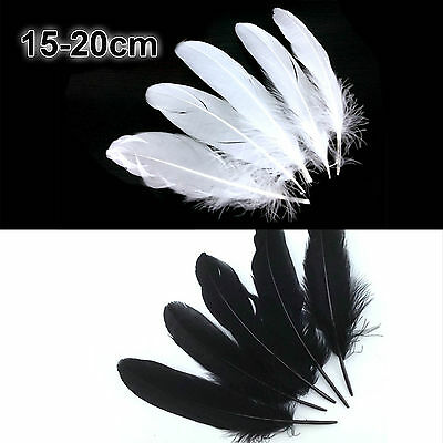 Natural Goose Feathers 13-18cm DIY Wedding Jewelry Decoration Black/White 50/100