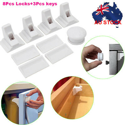 8 Sets Magnetic Baby Kids Pet Proof Cupboard Cabinet Drawer Safety Lock