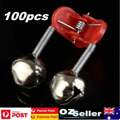 100X Plastic Clip Double Rod Bite Alarm Fishing Bells Ring Fishing Tackle Red