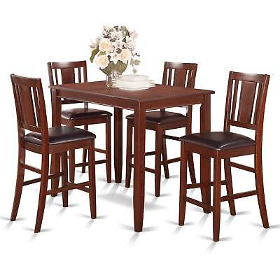 Mahogany Counter Height Table and 4 Stools Dining Set