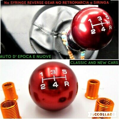 POMELLO cambio Auto Epoca Fiat 500 126 uno abart shift Knob ROSSO red marce Leva