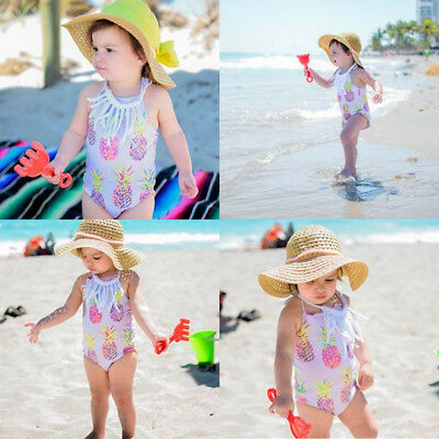 AU Toddler Kid Baby Girl Sling Pineapple Swimsuit Romper Beachwear Outfit Summer
