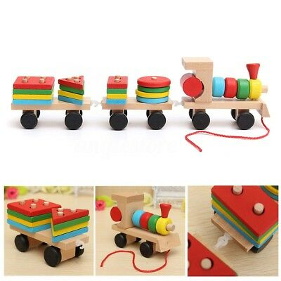 Puzzle Wooden Building Block Train Toy Baby Kids Early Learning Educational Gift