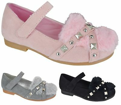 New Girls Kids Children Stap Fur Studded Low Flat Party Casual Flat Shoes Sz 8-2