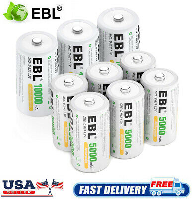 EBL 5000/10000mAh Ni-MH C D Size C D Cell Rechargeable Batteries High Capacity