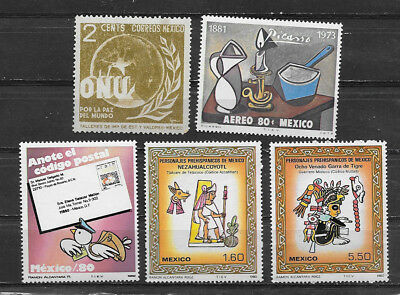 Mexico , Lot Of 5 Stamps , Perf , Mnh