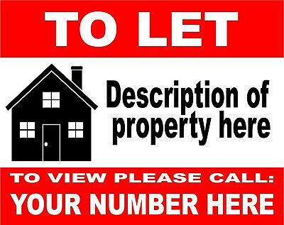 2 x House Flat Property TO LET - RENT sign boards Personalised 4mm Correx Boards