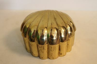 Vintage Solid Brass Clam Box Nautical Beach House Decor Cool Unique Hinged Old