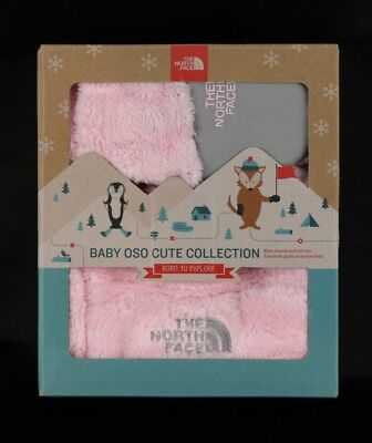 The North Face Baby OSO Cute Collection Baby Beanie and Mitt Set Pink - NWT