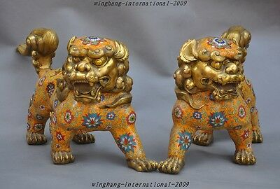 old chinese Fengshui coppery cloisonne enamel foo dog lions lucky statue pair