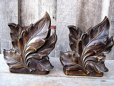 Pair Heavy Vintage Bronze Tone Brass Leaf Bookends Home & Garden Den Office