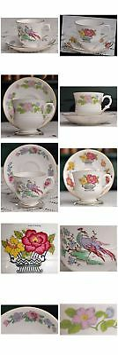 Staffordshire FLOWER BASKET COUNTRY GARDEN CATHAY cups & saucers fine bone china