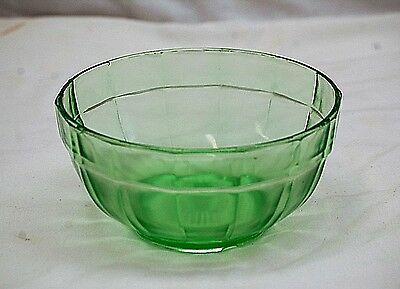 Old Vintage Pillar Optic Green Depression Glass Mixing Bowl by Anchor Hocking