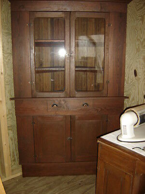 Antique Pine Corner Cupboard with beaded board back.    6532