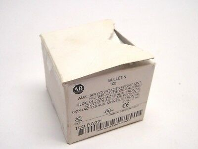 New Allen Bradley 100-FA22 Auxiliary Contact Front Mount