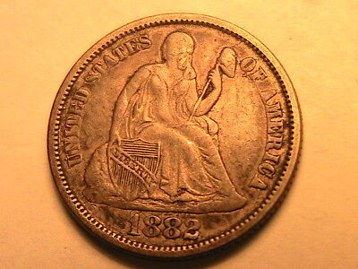 1882-P Album Toned XF Extra Fine Seated Liberty Dime Silver Ten Cent 10C US Coin