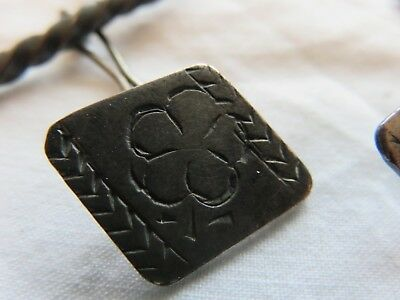 Rare 17th / 18th century antique hand carved old silver cufflinks