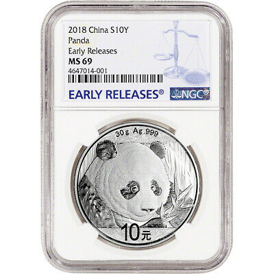 2018 China Silver Panda (30 g) 10 Yuan NGC MS69 Early Releases