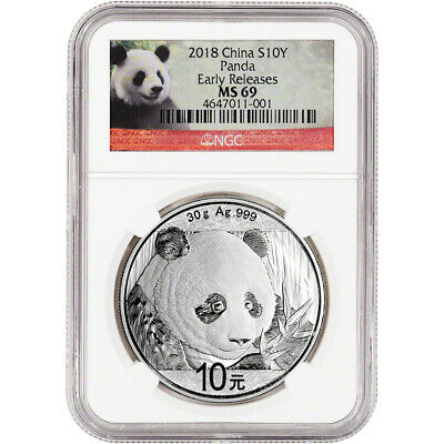 2018 China Silver Panda (30 g) 10 Yuan NGC MS69 Early Releases Panda Label