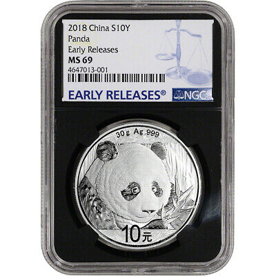 2018 China Silver Panda (30 g) 10 Yuan NGC MS69 Early Releases Black Core