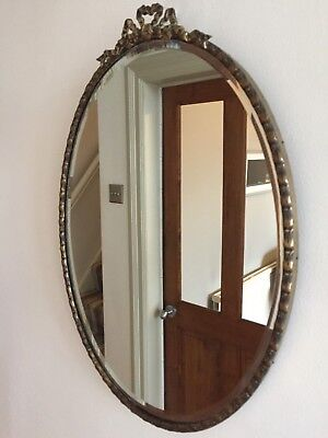 Vintage Brass Framed Ribbon Bow Wall Mirror Bevelled Edge Oval Vertical 44x31cm