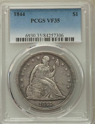 1844 US Seated Liberty Silver Dollar $1 - PCGS VF35