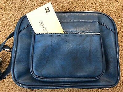 "NEW Vintage American Tourister Retro Blue 16"" Shoulder Tote Luggage w/ Key"