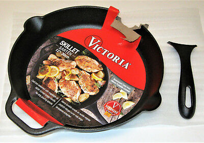 """Victoria Cast Iron 12"""" Skillet Fry Pan with Long Handle Seasoned Large 12 inch"""
