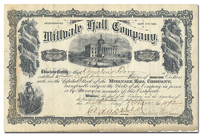Millvale Hall Company Stock Certificate (Pittsburgh Area)