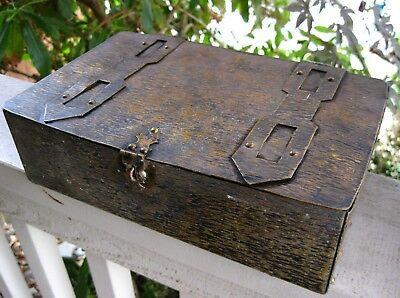 Antique Arts & Crafts Welded Heavy Metal Box Mission Era Document Vintage Patina